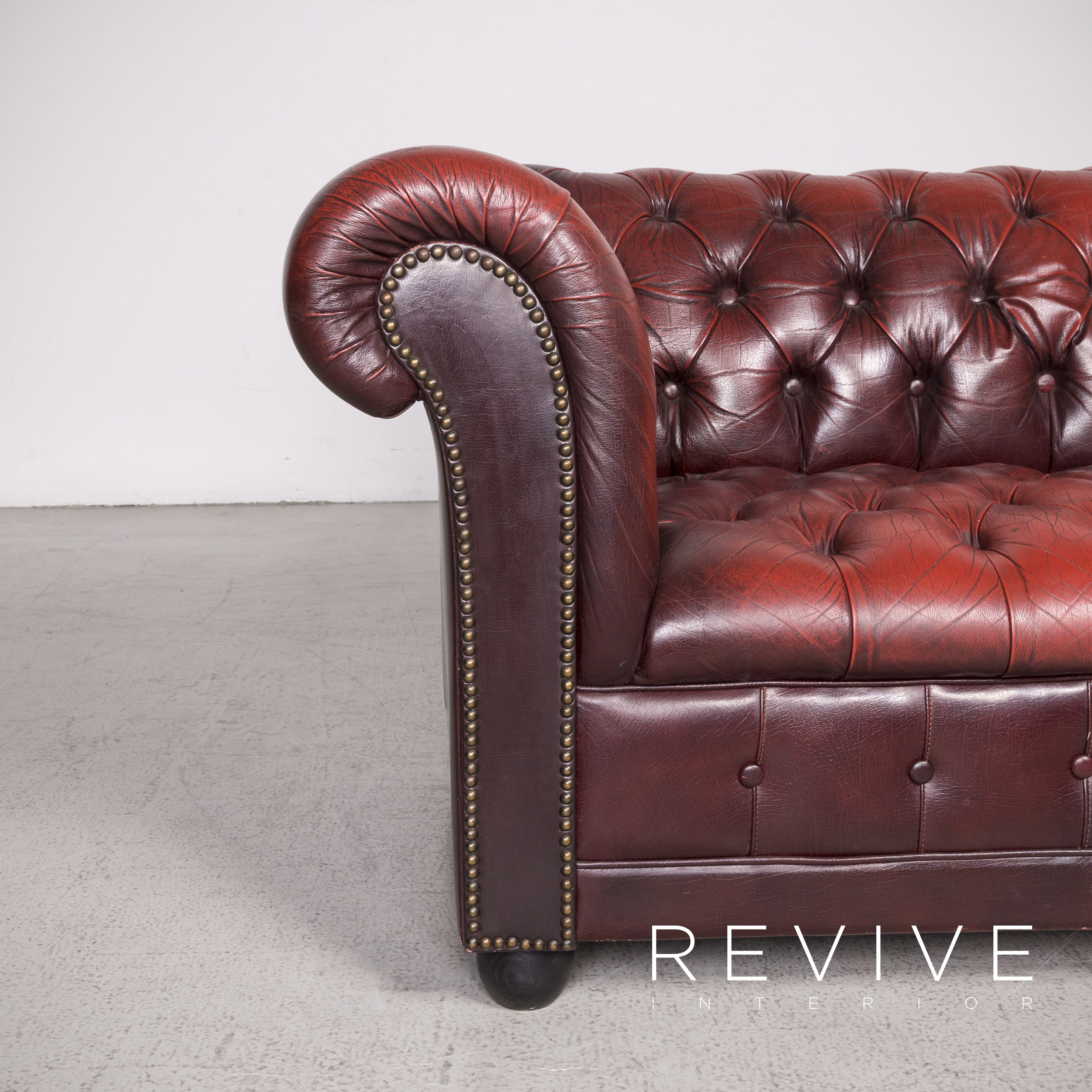 chesterfield leather sofa red two seater real leather vintage retro 8394 ebay