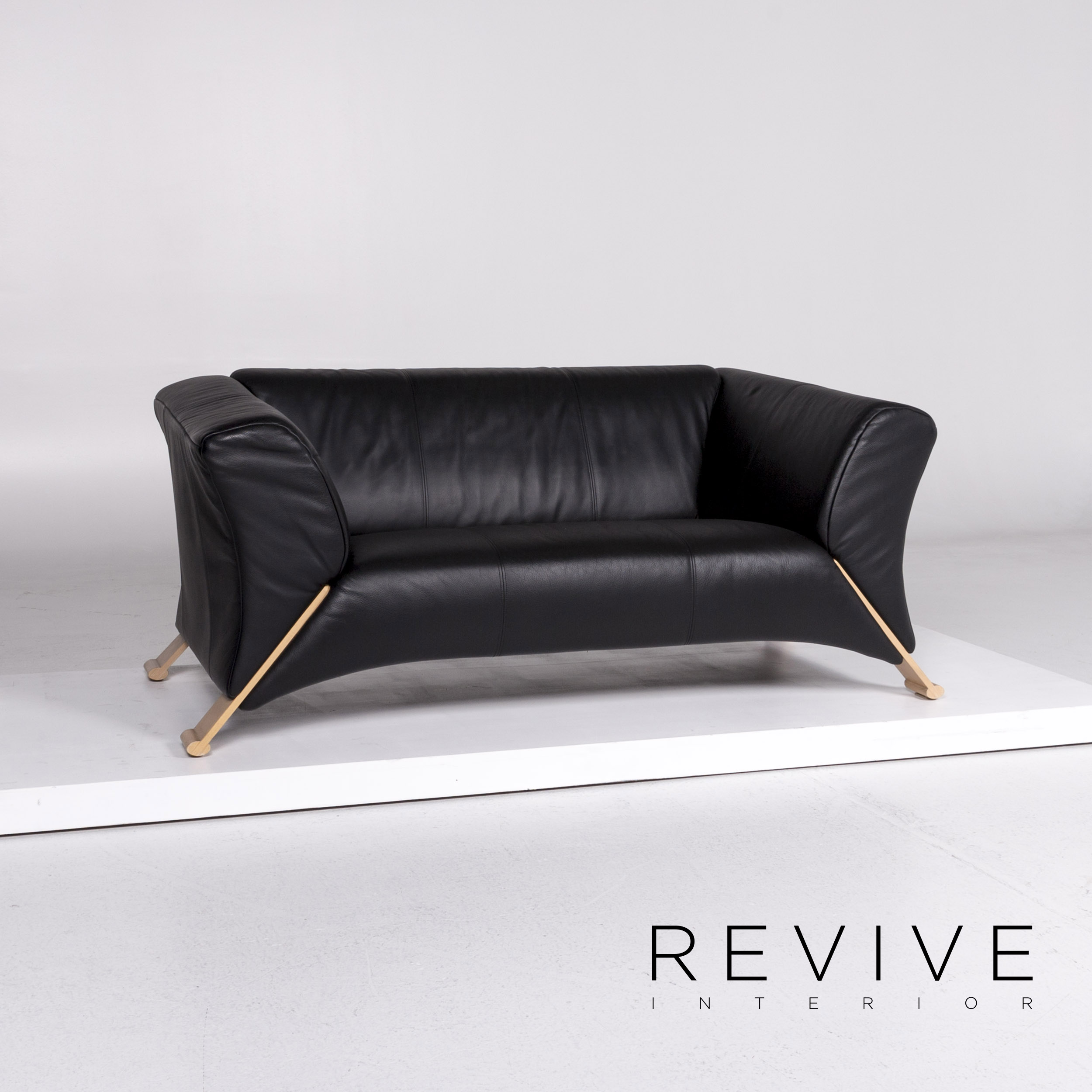 Details about Rolf Benz 322 Leather Sofa Set Black 1x three-seater 1x Two  Seater #10997- show original title