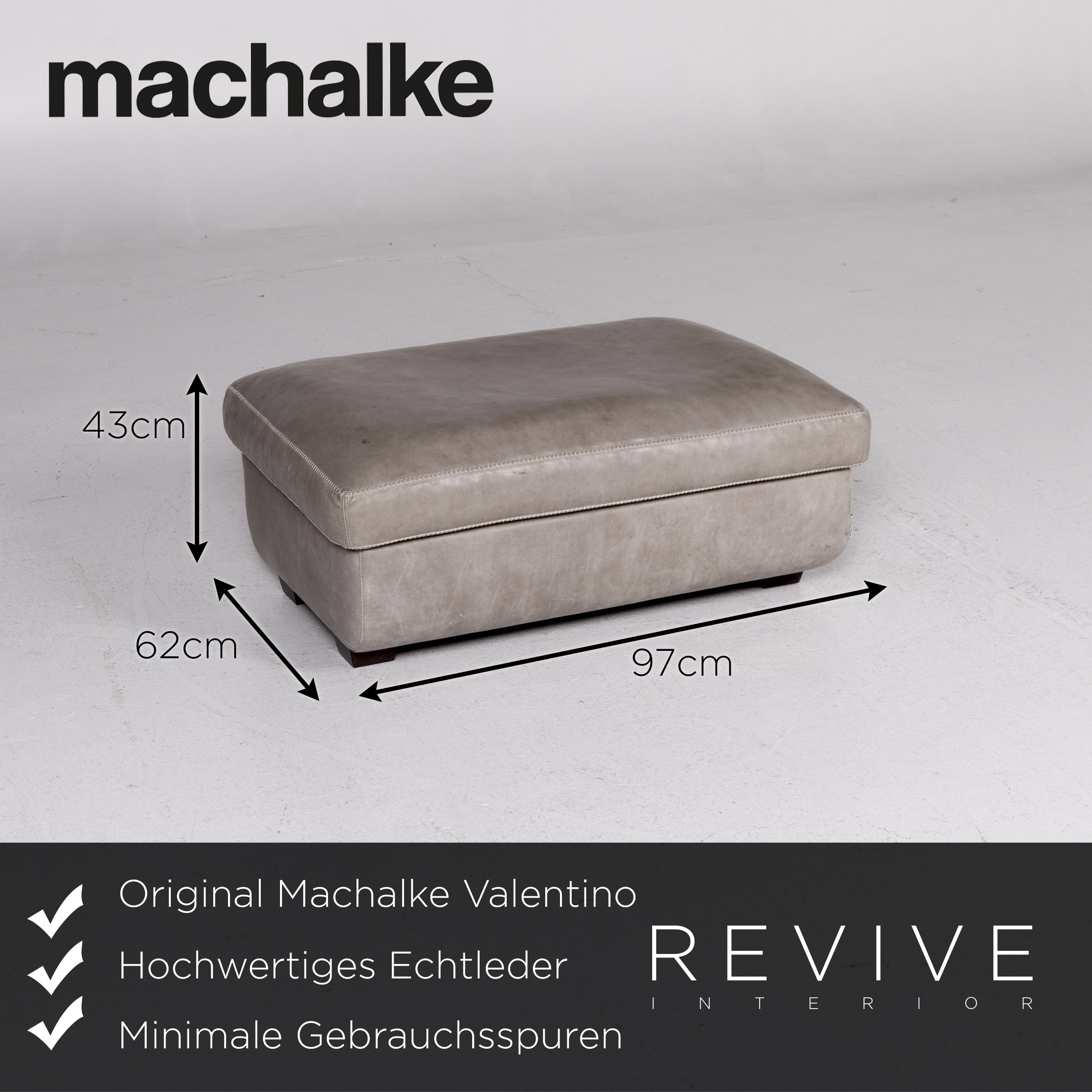 Machalke Design Bank.Machalke Valentino Leder Hocker Grau Schemel 11101 Ebay