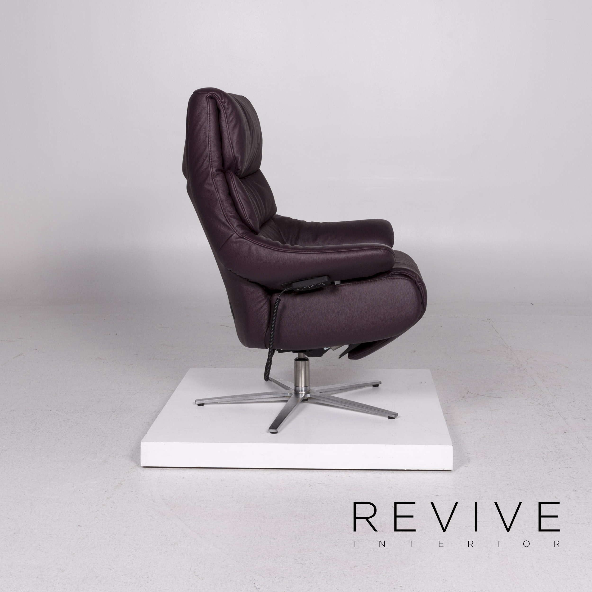 HIMOLLA Leather Armchair Aubergine Purple Electric ...